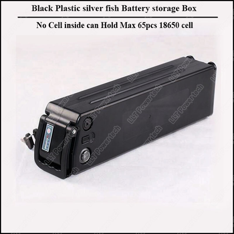 48v Black Silver Fish Bicycle Battery Box Plastic Black