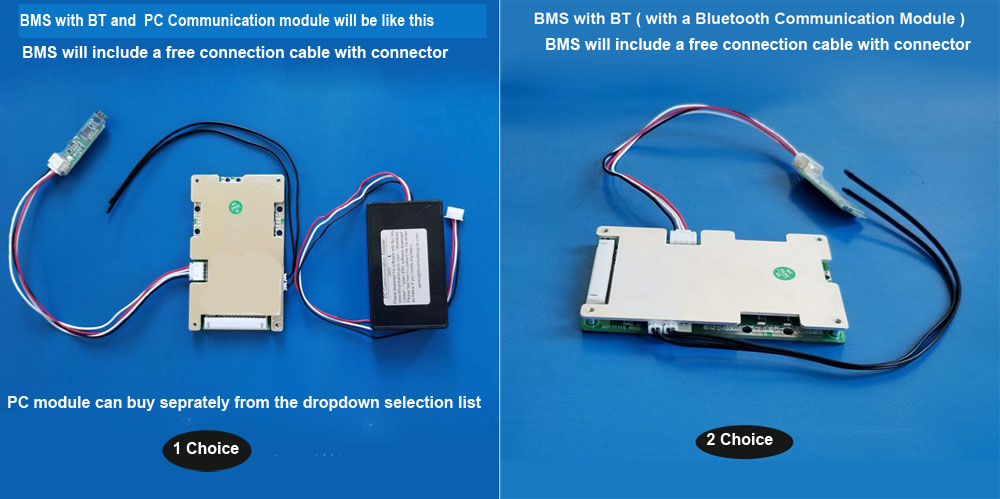 10S 11S 12S 13S 14S 15S 36V 48V 58 8V 60V smart BMS with Bluetooth function  UART communication 20A to 60A constant current