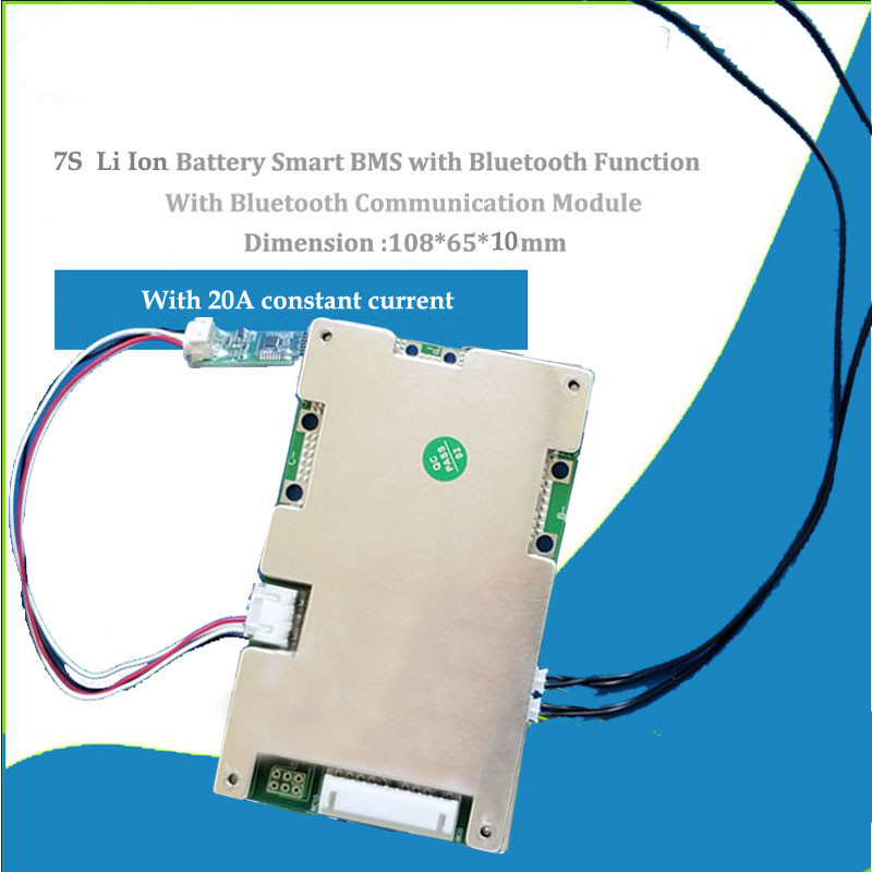 7S 8S 9S 10S 24V 36V Li ion or Lifepo4 Bluetooth Smart BMS with 20A 30A 40A  60A Constant discharge current