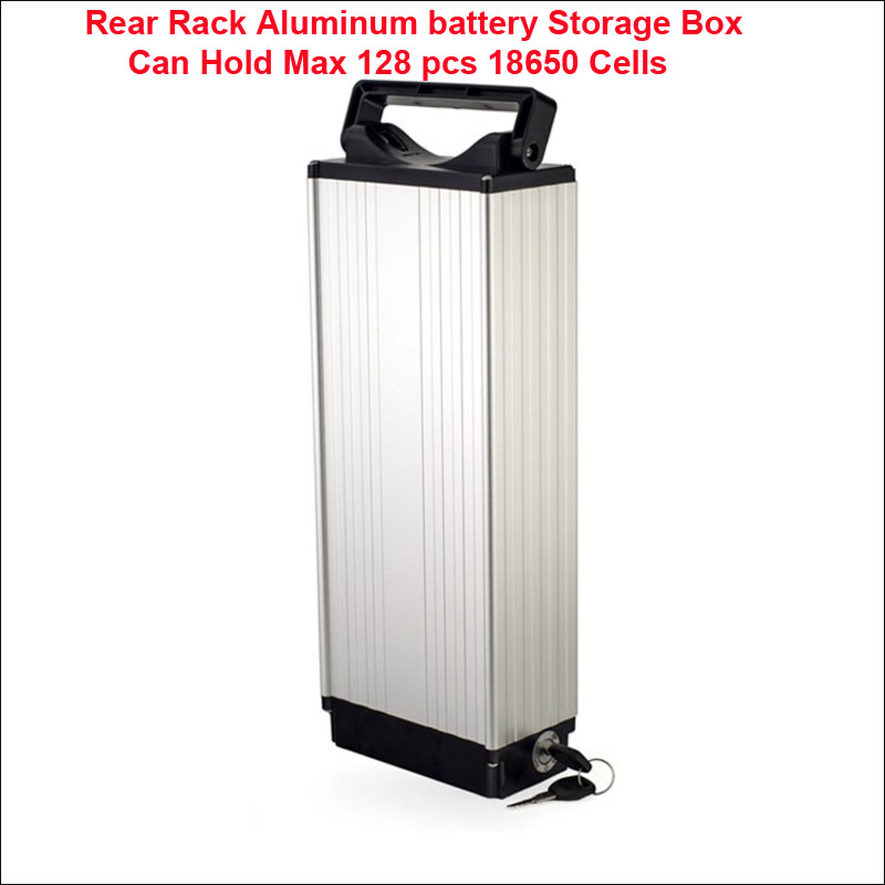 Rear Rack Aluminum Battery Storage Box Can Hold Max 128 Pcs 18650 Cells For 36v 48v Large Capacity Embly Purpose