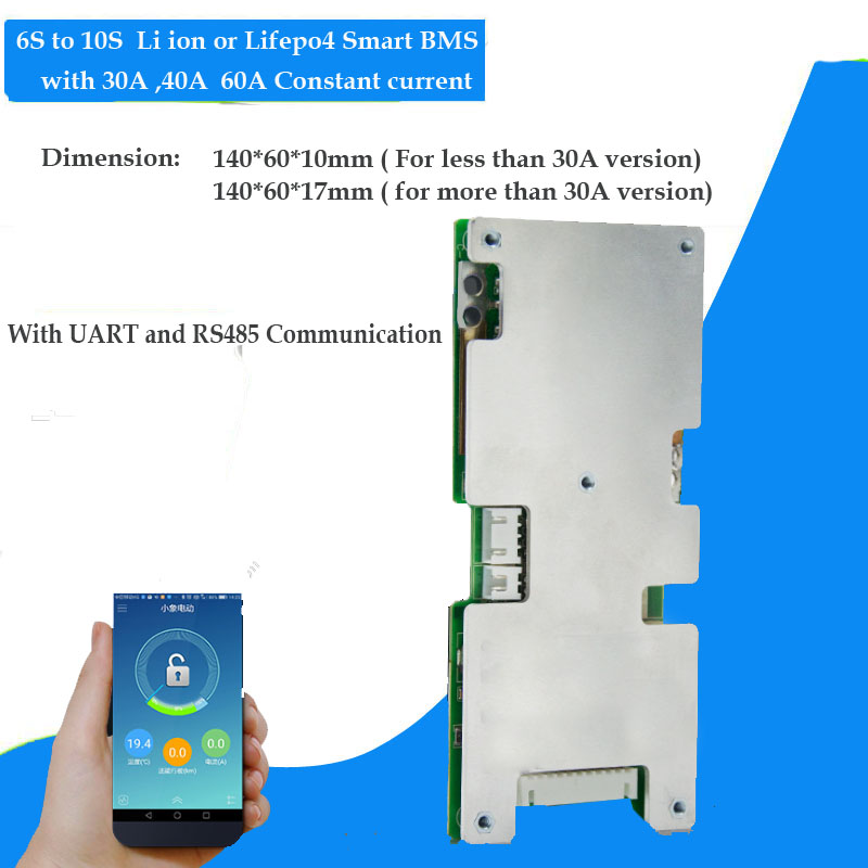 6S 7S 8S 9S 10S li ion or lifepo4 Battery smart BMS with 20A 30A 40A 50A  60A constant discharge current with RS485 and UART communication function